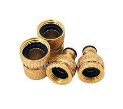 "4 Pcs Hose 3/4"" Brass Quick Connectors"
