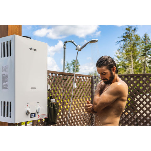 Man Showering using Onsen Tankless Water Heater