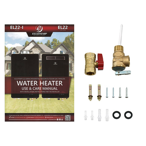 "Eccotemp EL22i Propane / Natural Gas Tankless Water Heater (w/ 4"" Vertical Vent Kit)"