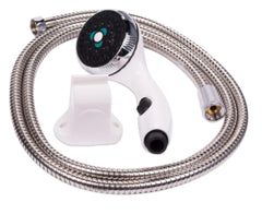 On/Off White Shower Head and Stainless Steel Hose for Eccotemp L5 L7 & L10