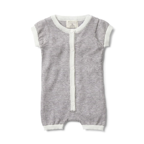 Charcoal Stripe Knitted Short Sleeve Growsuit