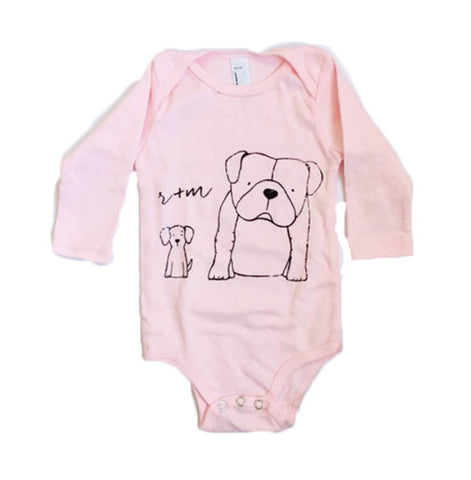 Light Pink Long Sleeve Rufus + Murdog Onsie