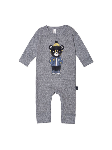 Hux Bear Charcoal Romper