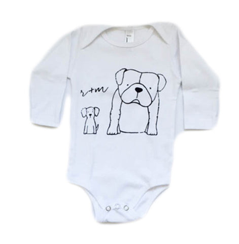 White Long Sleeve Onesie Rufus + Murdog
