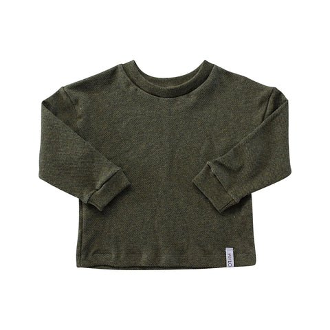 Forest Green Drop Long Sleeve Sweater