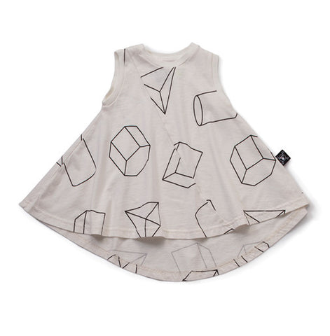 White Geometric 360 Dress