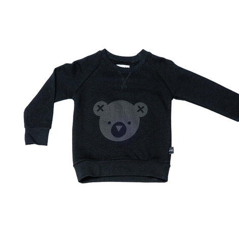 Black Hux Bear Fleece Sweater