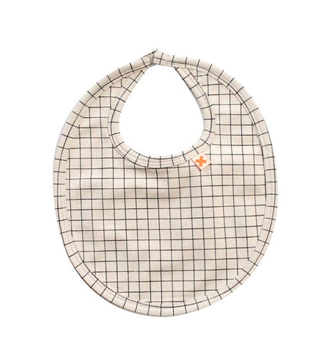 Beige with Black Grid Bib