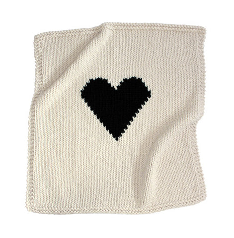 Heart Knit Crib Blanket - Black