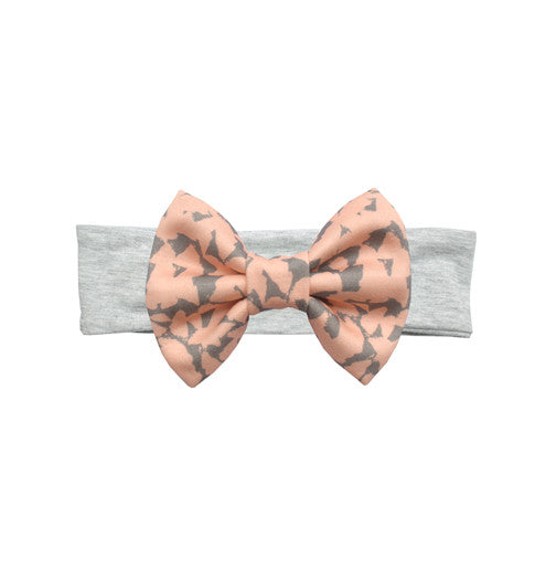 Blush/Grey Bow Headband