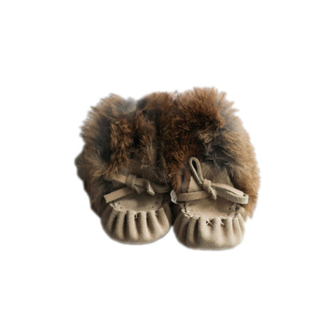 Baby Cream Fur Trim Moccasins