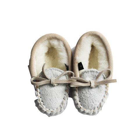 Cream Fur Lined Childrens Slippers