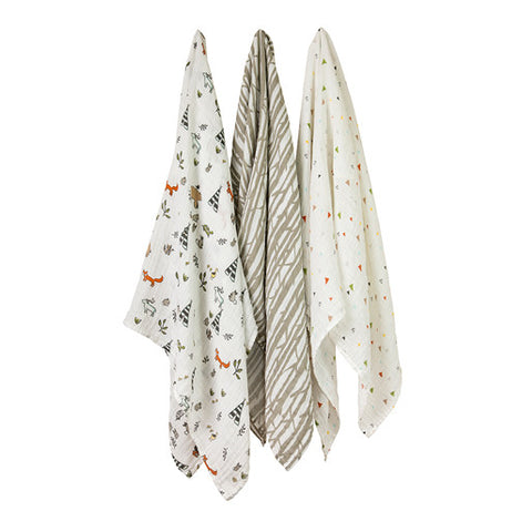Little Unicorn Forest Friend 3 Pack Cotton Muslin Swaddle Set