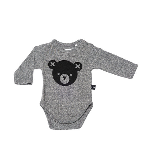 Charcoal Hux Bear Long Sleeve Onesie