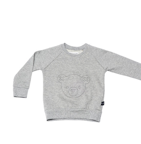 Grey Hux Bear Fleece Sweater