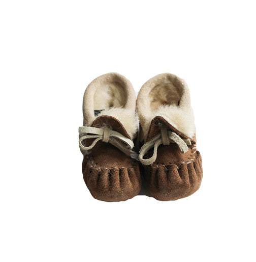 Mocha Fur lined Baby Slippers