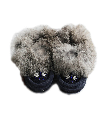 Navy Fur Childrens Slippers