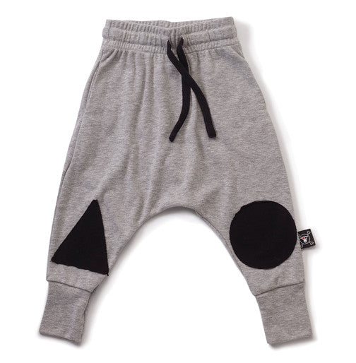 Heather Grey Patch Baggy Pants