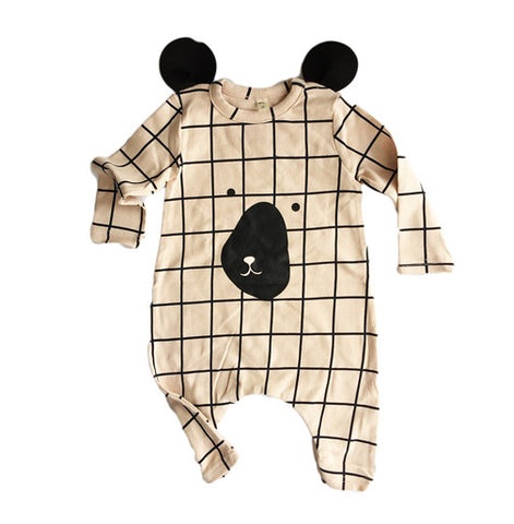 Checkered Bear Suit Pink