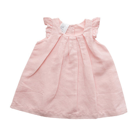 Pink Pleated Linen Dress