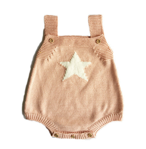 Pink Knit Star Romper