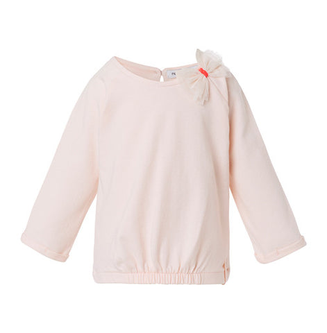 Light Pink Long Sleeve Tee with White Bow