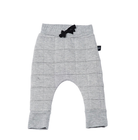 Grey Quilted Drop Crotch Pants
