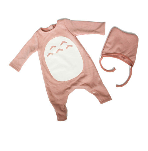 Baby Totoro Suit with Bonnet Pink