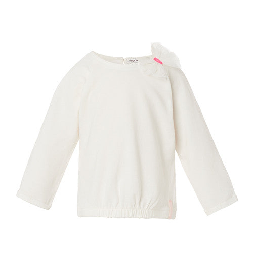 Long Sleeve White Tee with pink Bow