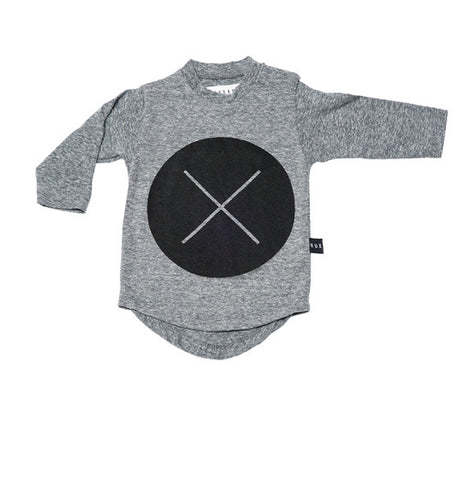 Charcoal Circle Cross Long Sleeve Tee
