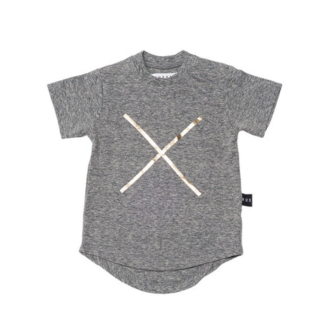 Charcoal Cross Drop Back Tee