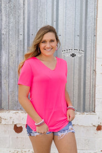 Neon Pink Butter Basic Top