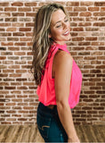 MJ Flexi High Neck Halter Top - Hot Pink