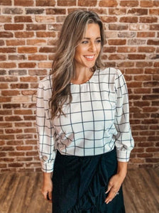 MJ Working Girl Top - White Plaid
