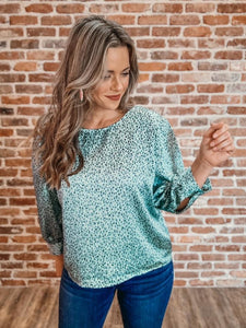 MJ Working Girl Top - Mint Cheetah