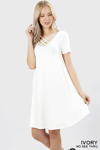 Triple Lattice Dress in Ivory
