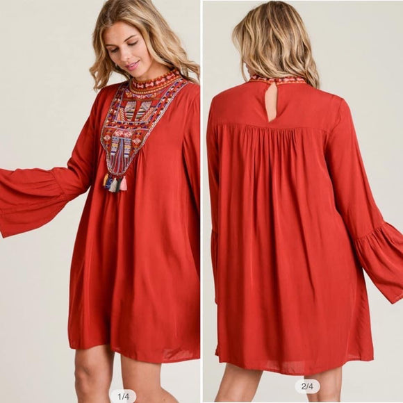 Embroidered Tassel Dress - Rust