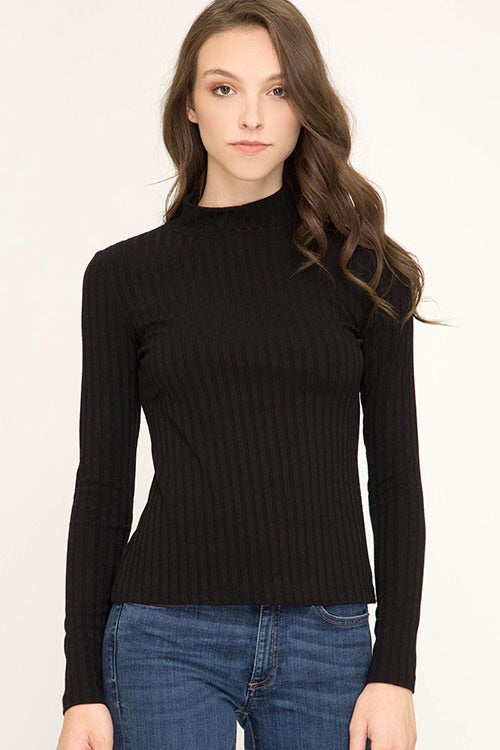 Baby It's Cold Outside Mock Neck Sweater - Black