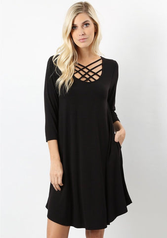 Triple Lattice Dress 3/4 Sleeve in Black