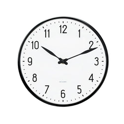 Arne Jacobsen Station Wall Clock, Black/White, 21 cm