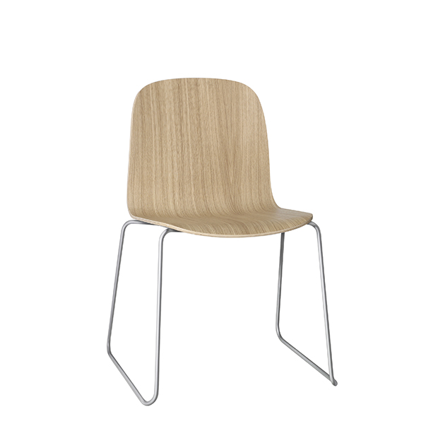 Visu Chair, Metal Base, Oak/Stainless