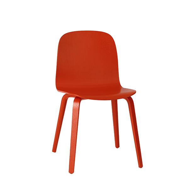 Visu Chair, Wood Base, Red/Red