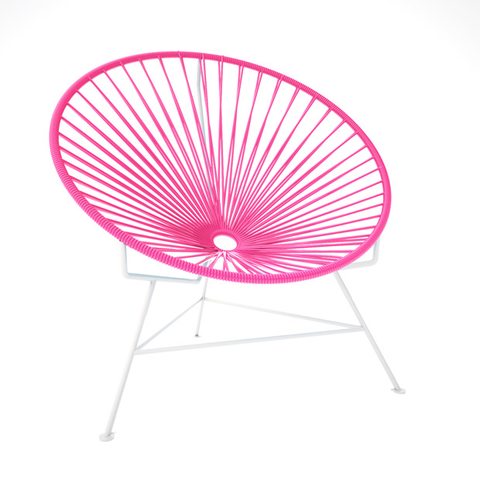 Condesa Chair, Pink Cord / White Base