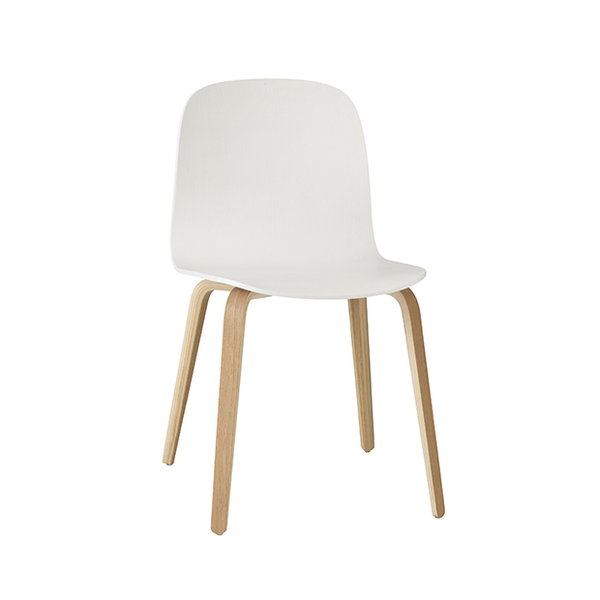 Visu Chair, Wood Base, White/Oak