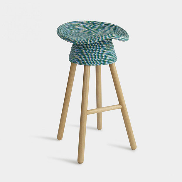 Coiled Counter Stool, 65cm, Aqua