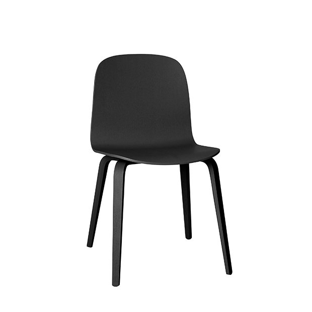 Visu Chair, Wood Base, Black/Black