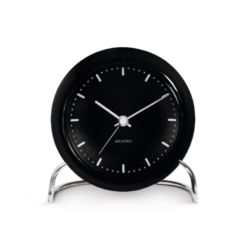 Arne Jacobsen City Hall Table Alarm Clock, Black