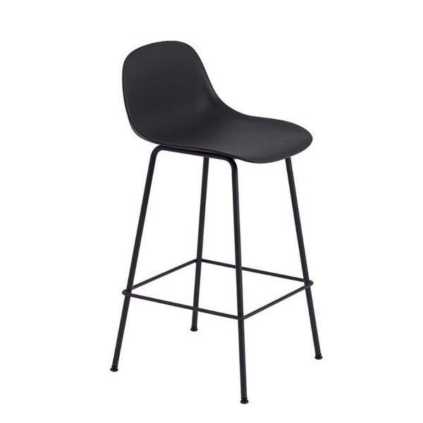 Fiber Barstool with Backrest, tube base, 65cm, Natural Black/Black