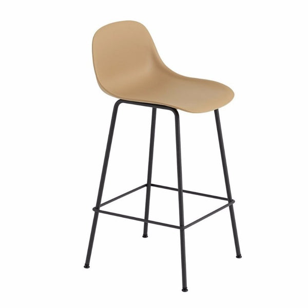 Fiber Barstool with Backrest, tube base, 65cm, Ochre/Black