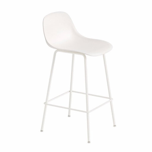 Fiber Barstool with Backrest, tube base, 65cm, Natural White/White